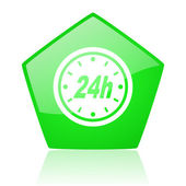 24h green pentagon web glossy icon — Stock Photo