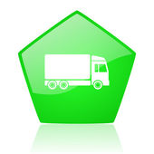 Delivery green pentagon web glossy icon — Stock Photo