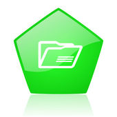 Folder green pentagon web glossy icon — Stockfoto