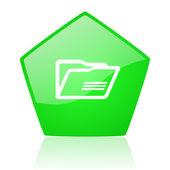 Groene pentagon web glanzende mappictogram — Stockfoto