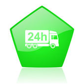 Delivery 24h green pentagon web glossy icon — Stock Photo