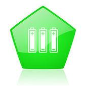 Baterie zielona pentagonu www błyszczący ikona — Zdjęcie stockowe