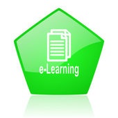 E-learning grün pentagon web glossy ii — Stockfoto