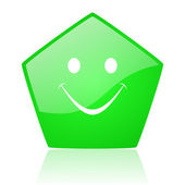 Smile green pentagon web glossy icon — Stock Photo