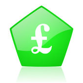 Pound green pentagon web glossy icon — Stock Photo