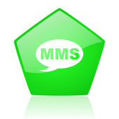 Mms green pentagon web glossy icon — Stock Photo