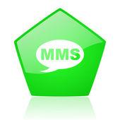 Mms verde lucido icona di pentagono web — Foto Stock