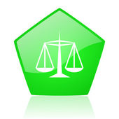 Justice green pentagon web glossy icon — Stock Photo