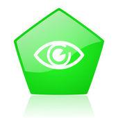 Eye green pentagon web glossy icon — Stock Photo