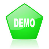 Demo green pentagon web glossy icon — Stock Photo