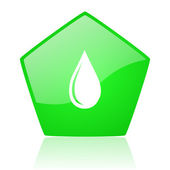 Water drop green pentagon web glossy icon — Stock Photo