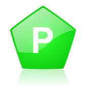 Icona di parco verde pentagono web lucido — Foto Stock