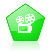 Cinema green pentagon web glossy icon — Stock Photo