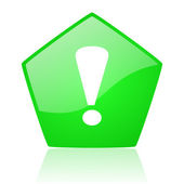 Exclamation sign green pentagon web glossy icon — Stock Photo