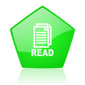 Read green pentagon web glossy icon — Stock Photo