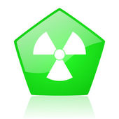 Radiation green pentagon web glossy icon — Stock Photo