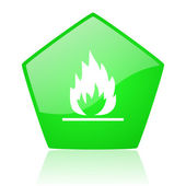 Flames green pentagon web glossy icon — Stock Photo