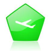 Icono brillante de avión del pentágono verde web — Foto de Stock