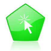 Click here green pentagon web glossy icon — Stock Photo
