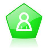 Account green pentagon web glossy icon — Stock Photo