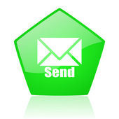 Send green pentagon web glossy icon — Stock Photo