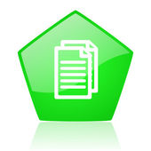 Document green pentagon web glossy icon — Foto Stock