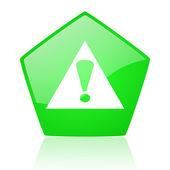 緑米国防総省 web 光沢のあるアイコンを警告 — ストック写真