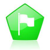 Pentagon web parlak simge yeşil bayrak — Stok fotoğraf