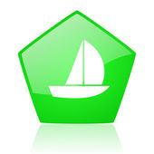 Yacht green pentagon web glossy icon — Stock Photo