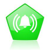 Alarm green pentagon web glossy icon — Stock Photo