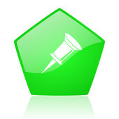 Pin green pentagon web glossy icon — Foto Stock