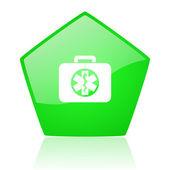 救援套件绿色五角大楼 web 光泽图标 — 图库照片