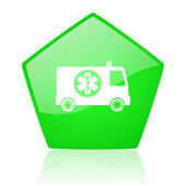Ambulance green pentagon web glossy icon — Stock Photo