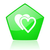 Love green pentagon web glossy icon — Stockfoto