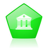 Museum green pentagon web glossy icon — Stock Photo