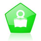 Book green pentagon web glossy icon — Stock Photo