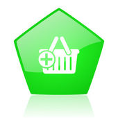 Shopping cart green pentagon web glossy icon — Stock Photo