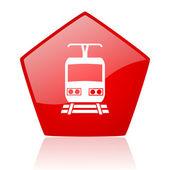 Treinar o ícone brilhante vermelho web — Fotografia Stock