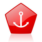 Anchor red web glossy icon — Stock Photo