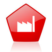 Industry red web glossy icon — Stock Photo