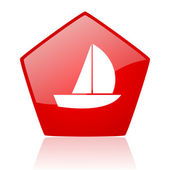 Yacht red web glossy icon — Stock Photo