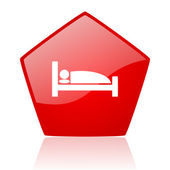 Hotel red web glossy icon — Stock Photo