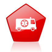 Ambulance red web glossy icon — Stock Photo