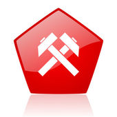 Mining red web glossy icon — Stock Photo
