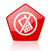 No phones red web glossy icon — Stock Photo