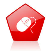 Mouse red web glossy icon — Stock Photo