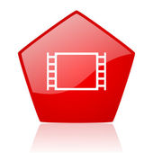 Movie red web glossy icon — Stock Photo