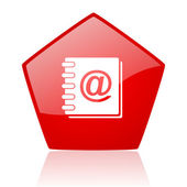 Address book red web glossy icon — Stock Photo