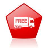Fri leverans röda glansiga webbikonen — Stockfoto