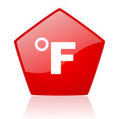 Fahrenheit red web glossy icon — Stock Photo